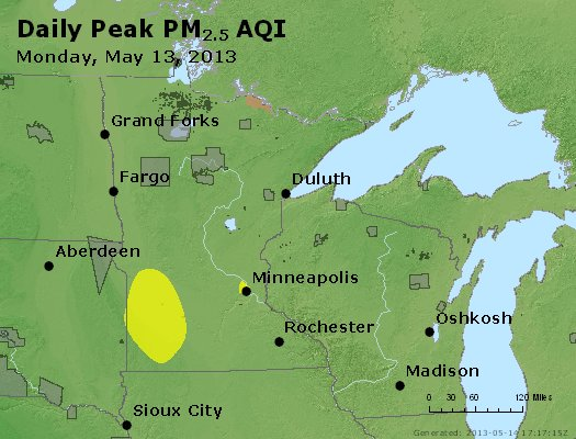 Peak Particles PM<sub>2.5</sub> (24-hour) - http://files.airnowtech.org/airnow/2013/20130513/peak_pm25_mn_wi.jpg