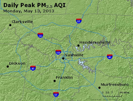 Peak Particles PM<sub>2.5</sub> (24-hour) - http://files.airnowtech.org/airnow/2013/20130513/peak_pm25_nashville_tn.jpg