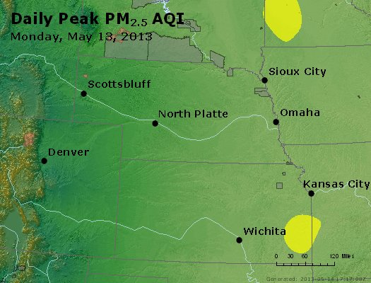 Peak Particles PM<sub>2.5</sub> (24-hour) - http://files.airnowtech.org/airnow/2013/20130513/peak_pm25_ne_ks.jpg