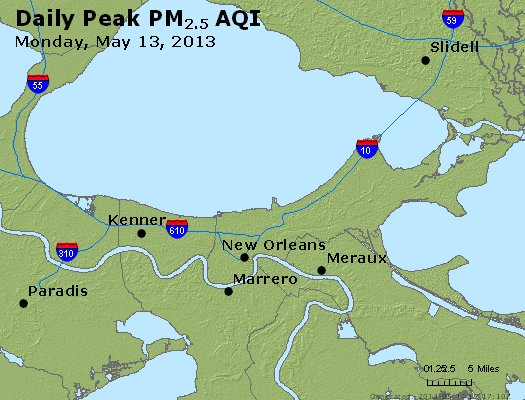 Peak Particles PM<sub>2.5</sub> (24-hour) - http://files.airnowtech.org/airnow/2013/20130513/peak_pm25_neworleans_la.jpg