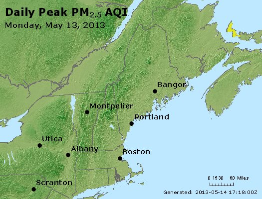 Peak Particles PM<sub>2.5</sub> (24-hour) - http://files.airnowtech.org/airnow/2013/20130513/peak_pm25_vt_nh_ma_ct_ri_me.jpg