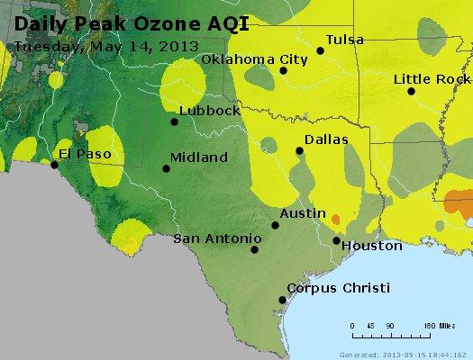 Peak Ozone (8-hour) - http://files.airnowtech.org/airnow/2013/20130514/peak_o3_tx_ok.jpg