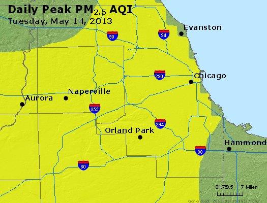 Peak Particles PM<sub>2.5</sub> (24-hour) - http://files.airnowtech.org/airnow/2013/20130514/peak_pm25_chicago_il.jpg