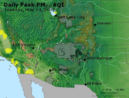 Peak Particles PM<sub>2.5</sub> (24-hour) - http://files.airnowtech.org/airnow/2013/20130514/peak_pm25_co_ut_az_nm.jpg