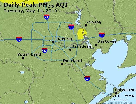 Peak Particles PM<sub>2.5</sub> (24-hour) - http://files.airnowtech.org/airnow/2013/20130514/peak_pm25_houston_tx.jpg