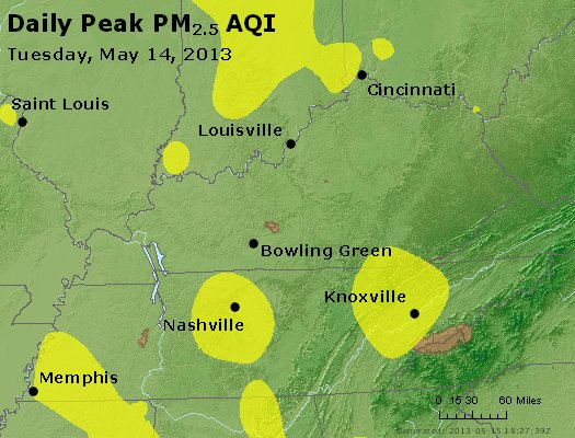 Peak Particles PM<sub>2.5</sub> (24-hour) - http://files.airnowtech.org/airnow/2013/20130514/peak_pm25_ky_tn.jpg