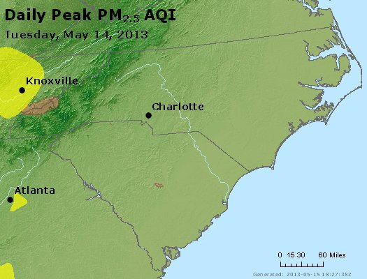 Peak Particles PM<sub>2.5</sub> (24-hour) - http://files.airnowtech.org/airnow/2013/20130514/peak_pm25_nc_sc.jpg