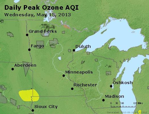 Peak Ozone (8-hour) - http://files.airnowtech.org/airnow/2013/20130515/peak_o3_mn_wi.jpg