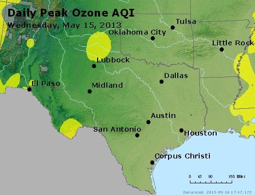 Peak Ozone (8-hour) - http://files.airnowtech.org/airnow/2013/20130515/peak_o3_tx_ok.jpg