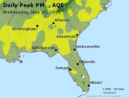 Peak Particles PM<sub>2.5</sub> (24-hour) - http://files.airnowtech.org/airnow/2013/20130515/peak_pm25_al_ga_fl.jpg
