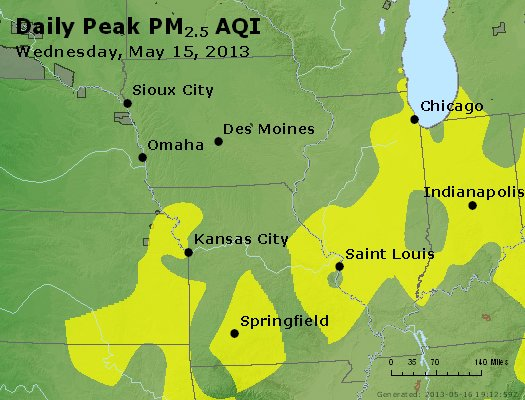 Peak Particles PM<sub>2.5</sub> (24-hour) - http://files.airnowtech.org/airnow/2013/20130515/peak_pm25_ia_il_mo.jpg