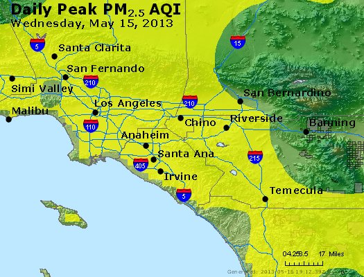 Peak Particles PM<sub>2.5</sub> (24-hour) - http://files.airnowtech.org/airnow/2013/20130515/peak_pm25_losangeles_ca.jpg