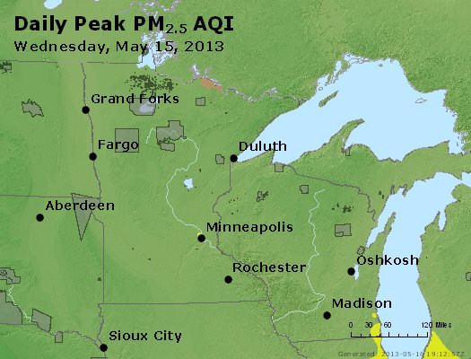 Peak Particles PM<sub>2.5</sub> (24-hour) - http://files.airnowtech.org/airnow/2013/20130515/peak_pm25_mn_wi.jpg