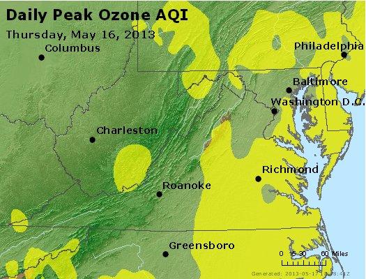Peak Ozone (8-hour) - http://files.airnowtech.org/airnow/2013/20130516/peak_o3_va_wv_md_de_dc.jpg