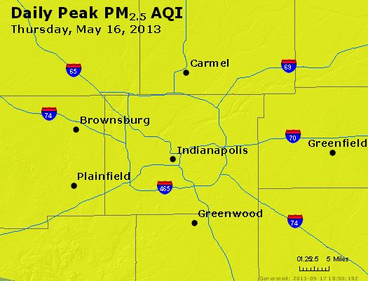 Peak Particles PM<sub>2.5</sub> (24-hour) - http://files.airnowtech.org/airnow/2013/20130516/peak_pm25_indianapolis_in.jpg