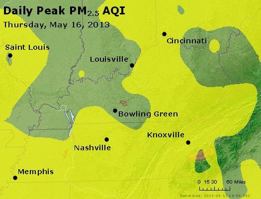 Peak Particles PM<sub>2.5</sub> (24-hour) - http://files.airnowtech.org/airnow/2013/20130516/peak_pm25_ky_tn.jpg