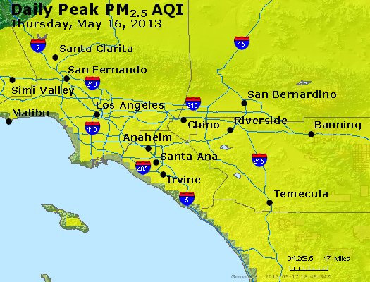 Peak Particles PM<sub>2.5</sub> (24-hour) - http://files.airnowtech.org/airnow/2013/20130516/peak_pm25_losangeles_ca.jpg