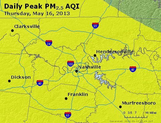 Peak Particles PM<sub>2.5</sub> (24-hour) - http://files.airnowtech.org/airnow/2013/20130516/peak_pm25_nashville_tn.jpg