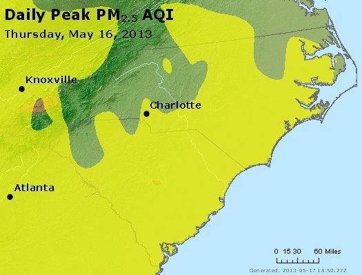 Peak Particles PM<sub>2.5</sub> (24-hour) - http://files.airnowtech.org/airnow/2013/20130516/peak_pm25_nc_sc.jpg