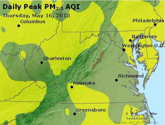 Peak Particles PM<sub>2.5</sub> (24-hour) - http://files.airnowtech.org/airnow/2013/20130516/peak_pm25_va_wv_md_de_dc.jpg