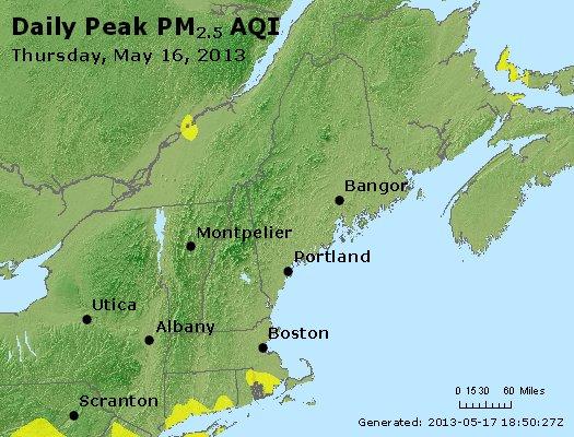 Peak Particles PM<sub>2.5</sub> (24-hour) - http://files.airnowtech.org/airnow/2013/20130516/peak_pm25_vt_nh_ma_ct_ri_me.jpg