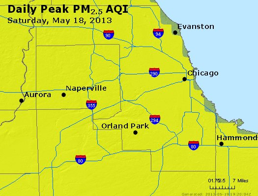Peak Particles PM<sub>2.5</sub> (24-hour) - http://files.airnowtech.org/airnow/2013/20130518/peak_pm25_chicago_il.jpg