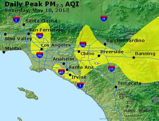 Peak Particles PM<sub>2.5</sub> (24-hour) - http://files.airnowtech.org/airnow/2013/20130518/peak_pm25_losangeles_ca.jpg