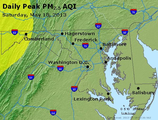 Peak Particles PM<sub>2.5</sub> (24-hour) - http://files.airnowtech.org/airnow/2013/20130518/peak_pm25_maryland.jpg