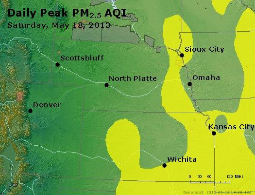 Peak Particles PM<sub>2.5</sub> (24-hour) - http://files.airnowtech.org/airnow/2013/20130518/peak_pm25_ne_ks.jpg