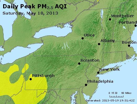 Peak Particles PM<sub>2.5</sub> (24-hour) - http://files.airnowtech.org/airnow/2013/20130518/peak_pm25_ny_pa_nj.jpg