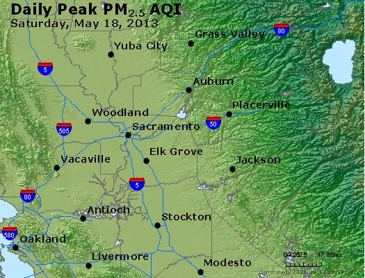 Peak Particles PM<sub>2.5</sub> (24-hour) - http://files.airnowtech.org/airnow/2013/20130518/peak_pm25_sacramento_ca.jpg