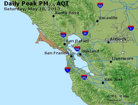 Peak Particles PM<sub>2.5</sub> (24-hour) - http://files.airnowtech.org/airnow/2013/20130518/peak_pm25_sanfrancisco_ca.jpg