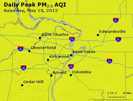 Peak Particles PM<sub>2.5</sub> (24-hour) - http://files.airnowtech.org/airnow/2013/20130518/peak_pm25_stlouis_mo.jpg