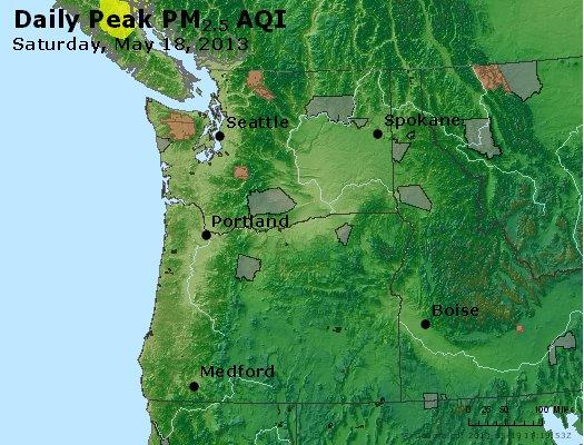 Peak Particles PM<sub>2.5</sub> (24-hour) - http://files.airnowtech.org/airnow/2013/20130518/peak_pm25_wa_or.jpg