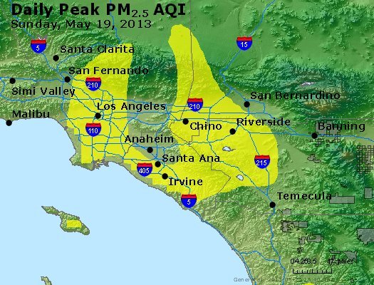 Peak Particles PM<sub>2.5</sub> (24-hour) - http://files.airnowtech.org/airnow/2013/20130519/peak_pm25_losangeles_ca.jpg