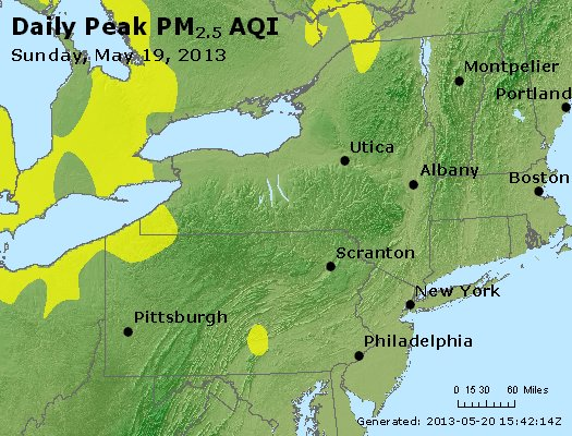 Peak Particles PM<sub>2.5</sub> (24-hour) - http://files.airnowtech.org/airnow/2013/20130519/peak_pm25_ny_pa_nj.jpg