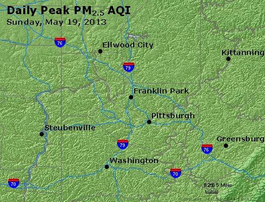 Peak Particles PM<sub>2.5</sub> (24-hour) - http://files.airnowtech.org/airnow/2013/20130519/peak_pm25_pittsburgh_pa.jpg