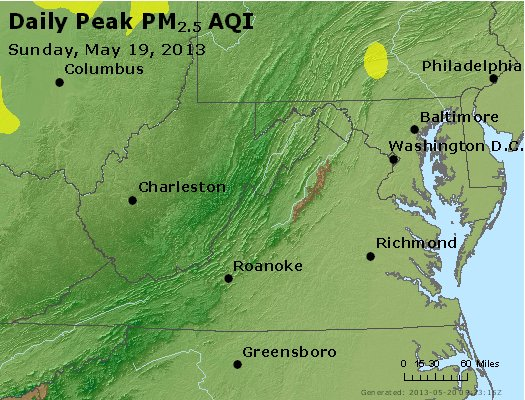 Peak Particles PM<sub>2.5</sub> (24-hour) - http://files.airnowtech.org/airnow/2013/20130519/peak_pm25_va_wv_md_de_dc.jpg