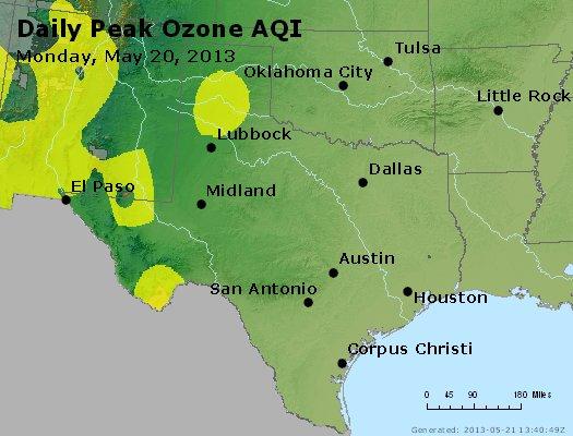 Peak Ozone (8-hour) - http://files.airnowtech.org/airnow/2013/20130520/peak_o3_tx_ok.jpg