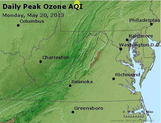 Peak Ozone (8-hour) - http://files.airnowtech.org/airnow/2013/20130520/peak_o3_va_wv_md_de_dc.jpg