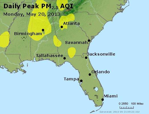 Peak Particles PM<sub>2.5</sub> (24-hour) - http://files.airnowtech.org/airnow/2013/20130520/peak_pm25_al_ga_fl.jpg