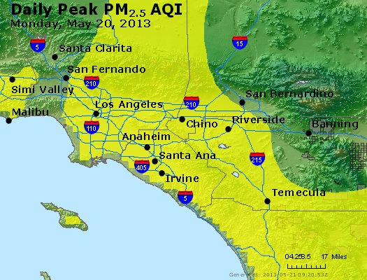 Peak Particles PM<sub>2.5</sub> (24-hour) - http://files.airnowtech.org/airnow/2013/20130520/peak_pm25_losangeles_ca.jpg