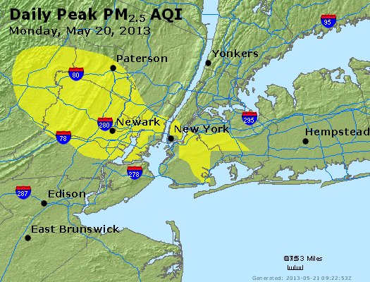 Peak Particles PM<sub>2.5</sub> (24-hour) - http://files.airnowtech.org/airnow/2013/20130520/peak_pm25_newyork_ny.jpg