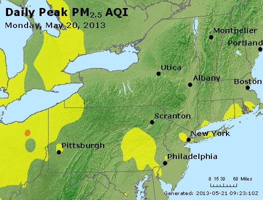 Peak Particles PM<sub>2.5</sub> (24-hour) - http://files.airnowtech.org/airnow/2013/20130520/peak_pm25_ny_pa_nj.jpg