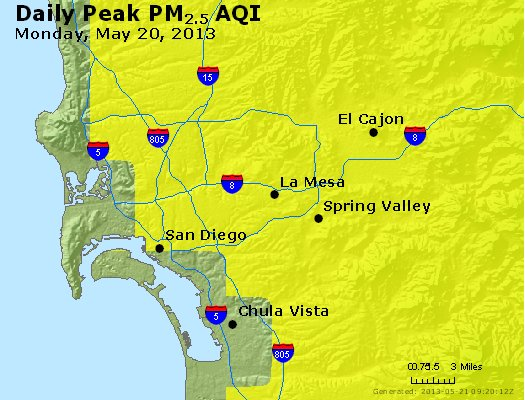 Peak Particles PM<sub>2.5</sub> (24-hour) - http://files.airnowtech.org/airnow/2013/20130520/peak_pm25_sandiego_ca.jpg