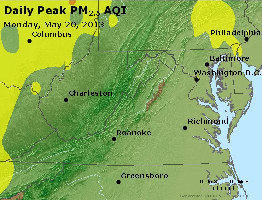 Peak Particles PM<sub>2.5</sub> (24-hour) - http://files.airnowtech.org/airnow/2013/20130520/peak_pm25_va_wv_md_de_dc.jpg