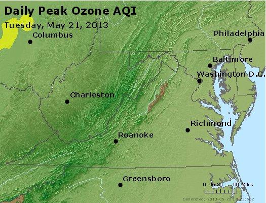 Peak Ozone (8-hour) - http://files.airnowtech.org/airnow/2013/20130521/peak_o3_va_wv_md_de_dc.jpg