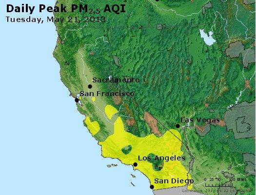 Peak Particles PM<sub>2.5</sub> (24-hour) - http://files.airnowtech.org/airnow/2013/20130521/peak_pm25_ca_nv.jpg