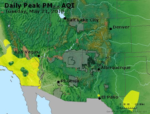 Peak Particles PM<sub>2.5</sub> (24-hour) - http://files.airnowtech.org/airnow/2013/20130521/peak_pm25_co_ut_az_nm.jpg