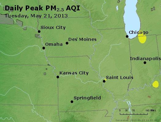 Peak Particles PM<sub>2.5</sub> (24-hour) - http://files.airnowtech.org/airnow/2013/20130521/peak_pm25_ia_il_mo.jpg